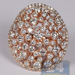 14K Rose Gold 8.76 ct Diamond Womens Wide Openwork Dome Ring