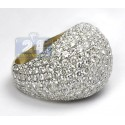 14K Yellow Gold 8.96 ct Pave Diamond Womens Dome Ring