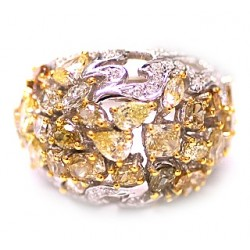 14K White Gold 6.46 ct Fancy Multicolored Diamond Womens Dome Ring