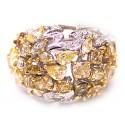 14K White Gold 6.46 ct Fancy Multicolored Diamond Dome Ring