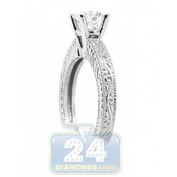 GIA 14K White Gold 1.00 ct I VS2 Round Diamond Womens Engagement Ring
