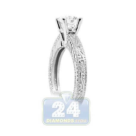 14K White Gold 1 ct I VS2 Round GIA Diamond Solitaire Engagement Ring