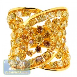 18K Yellow Gold 5.63 ct Fancy Multicolored Diamond Vintage Ring