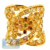 18K Yellow Gold 5.63 ct Fancy Multicolored Diamond Wide Vintage Ring
