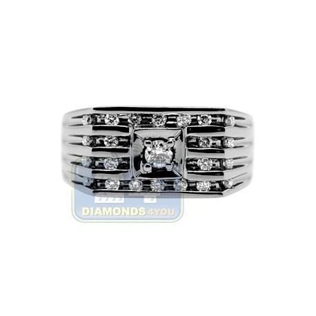 Black PVD 14K Gold 0.48 ct Diamond Mens Ring