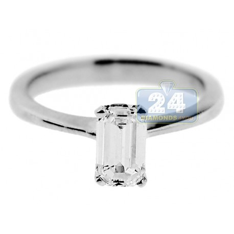 14K White Gold 1 ct GIA Emerald Cut Solitaire Diamond Engagement Ring