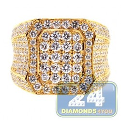 Luxury 14K Yellow Gold 5.19 ct Iced Out Diamond Mens Signet Ring