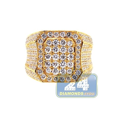 Mens Iced Out Diamond Luxury Signet Ring 14K Yellow Gold 5.19ct
