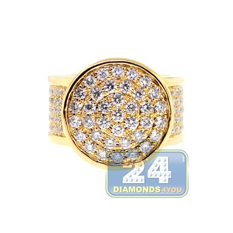 Mens Diamond Round Shape Signet Ring 14K Yellow Gold 4.58ct