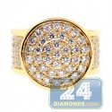 14K Yellow Gold 4.58 ct Diamond Round Shape Signet Mens Ring