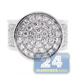 14K White Gold 4.58 ct Diamond Round Shape Signet Mens Ring