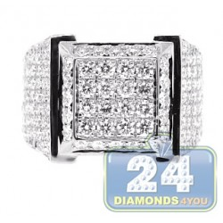 14K White Gold 4.85 ct Diamond Square Mens High Ring
