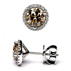 18K White Gold 2.27 ct Cognac Diamond Womens Stud Earrings