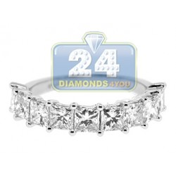 14K White Gold 3.03 ct Princess Cut Diamond Womens Anniversary Ring
