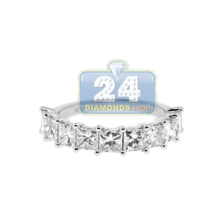 14K White Gold 3.03 ct Princess Cut Diamond Womens Anniversary Ring