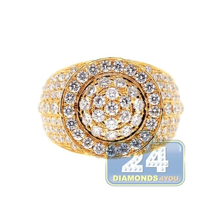 Mens Diamond Cluster Signet Luxury Ring 14K Yellow Gold 4.68ct