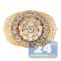 14K Yellow Gold 4.68 ct Diamond Cluster Mens Signet Ring