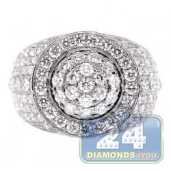 14K White Gold 4.68 ct Diamond Cluster Mens Signet Ring