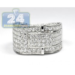 14K White Gold 7.25 ct Diamond Mens Signet Ring