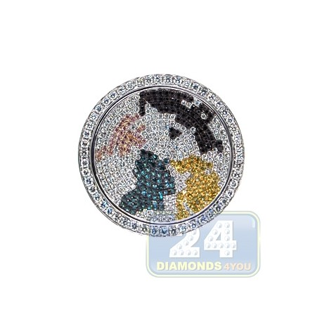 18K White Gold 1.72 ct Multicolored Diamond World Map Mens Ring