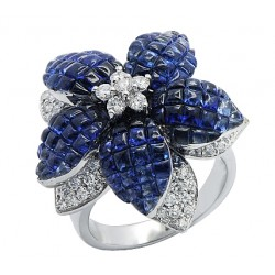 14K White Gold 7.95 ct Sapphire Diamond Womens Flower Ring