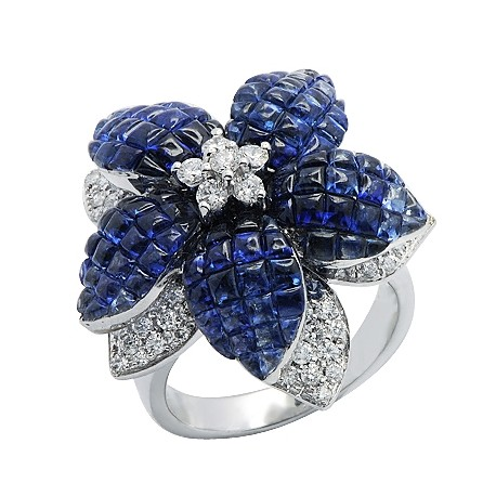 14K White Gold 7.95 ct Sapphire Diamond Womens Flower Ring