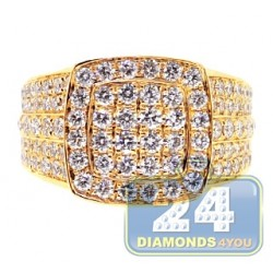 14K Yellow Gold 4.44 ct Diamond Mens Square Shape Ring