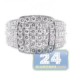 14K White Gold 4.44 ct Diamond Mens Square Shape Ring