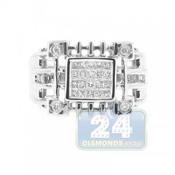 14K White Gold 0.62 ct Diamond Mens Signet Ring