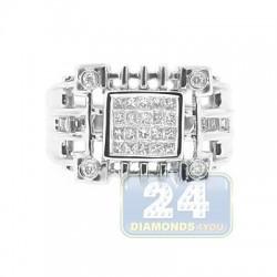 14K White Gold 0.62 ct Diamond Mens Signet Ring