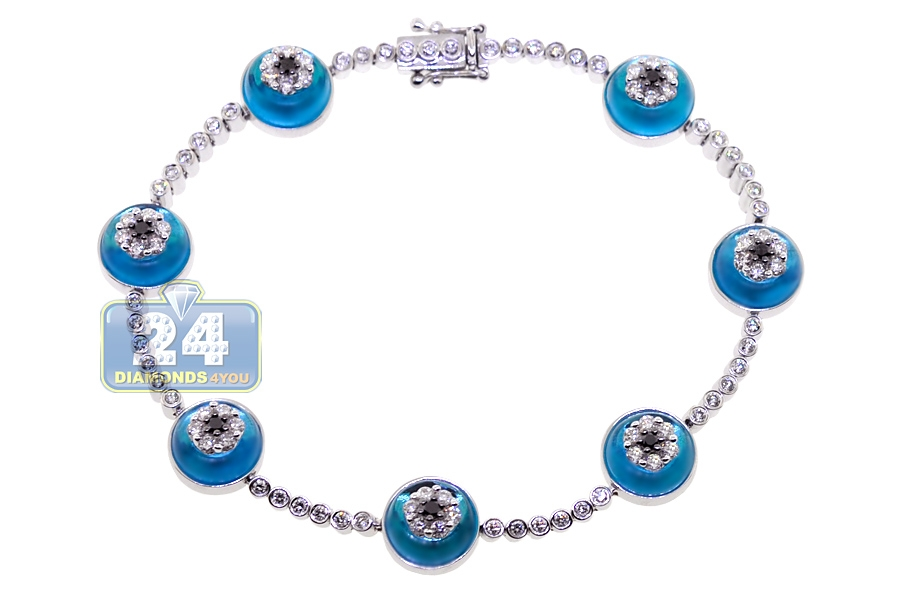 Womens diamond evil eye bracelet 14k white gold 235 ct 725 aloadofball Image collections
