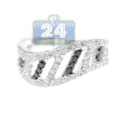 14K White Gold 0.80 ct Black White Diamond Womens Band Ring