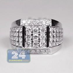 14K White Gold 2.63 ct Diamond Mens Signet Ring
