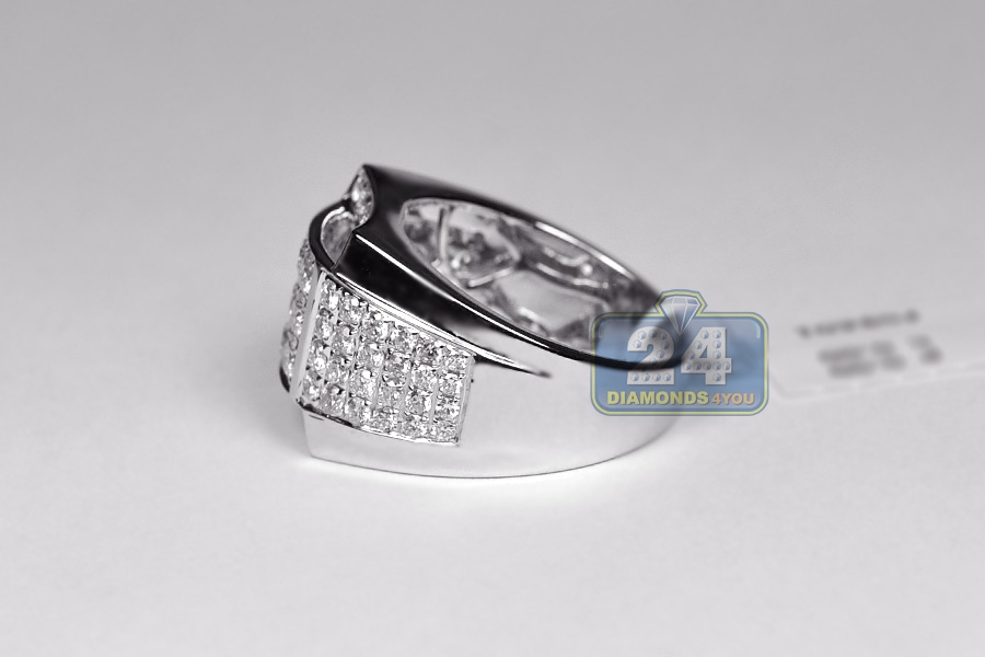 Mens Round Cut Diamond Signet Ring 14k White Gold 2 63 Ct