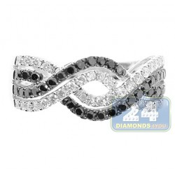 14K White Gold 1.20 ct Black Mixed Diamond Womens Infinity Ring