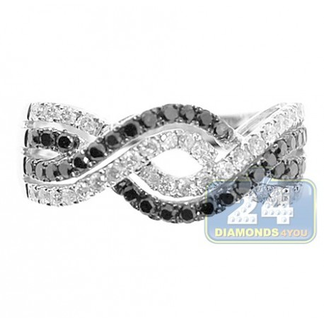 14K White Gold 1.20 ct Black Mixed Diamond Womens Infinity Band Ring