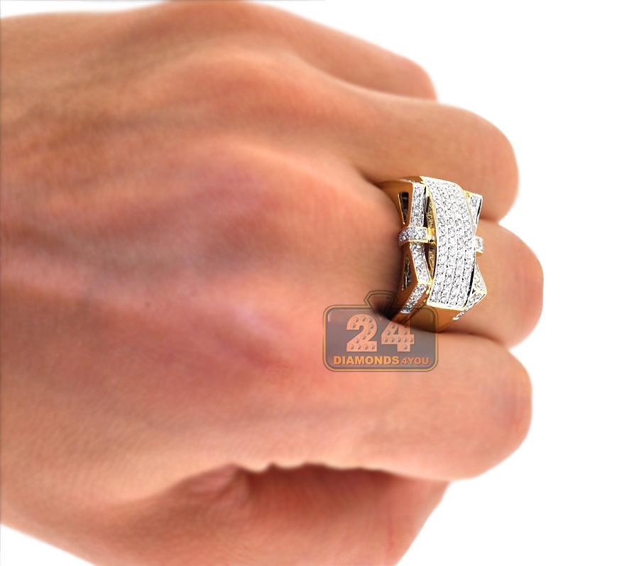 Mens Diamond Ring Signet 14k Yellow Gold 1 07 Ct