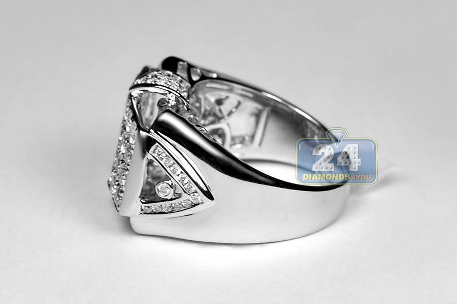 Mens Diamond Pinky Signet Ring 14k White Gold 2 07 Ct