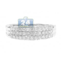 14K White Gold 0.75 ct Round Cut Diamond Womens Band Ring