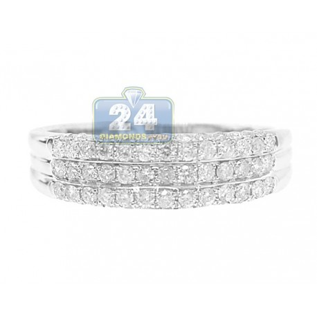 14K White Gold 0.75 ct 5 Row Round Cut Diamond Womens Band Ring