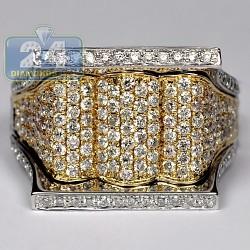 14K Two Tone Gold 2.20 ct Diamond Mens Signet Ring