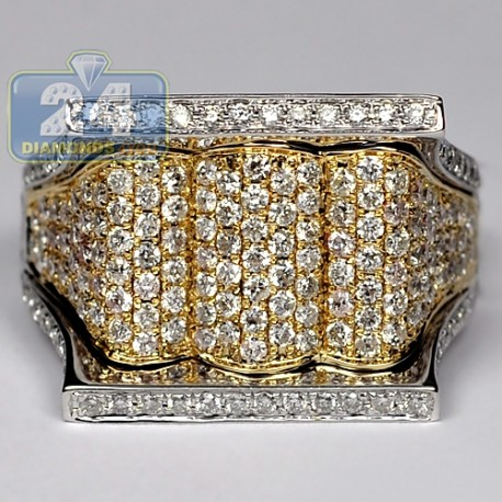 14K Two Tone Gold 2.20 ct Diamond Mens Signet Ring