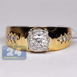 14K Yellow Gold 0.75 ct Diamond Illusion Mens Solitaire Ring