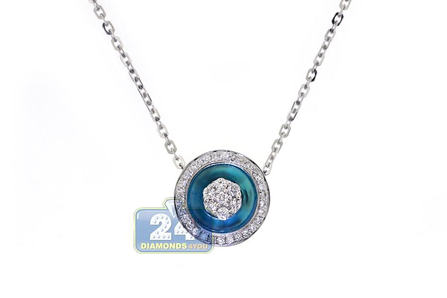 Womens Diamond Blue Evil Eye Pendant Necklace 18K White Gold 17