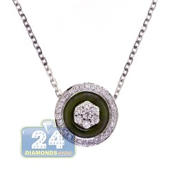 18K White Gold 0.60 ct Diamond Green Evil Eye Womens Necklace