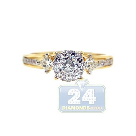14K Yellow Gold 0.74 ct Diamond Multi Stone High Set Engagement Ring