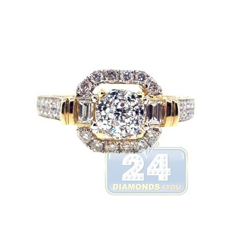 14K Yellow Gold 1.22 ct Baguette Diamond Vintage Engagement Ring