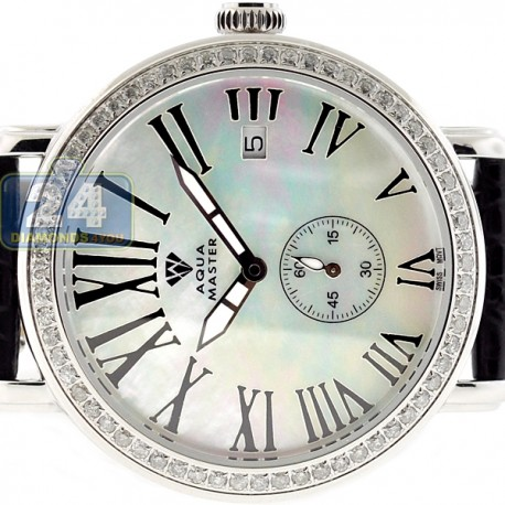 Womens Diamond Silver Watch Aqua Master Automatic 1.25 Carat
