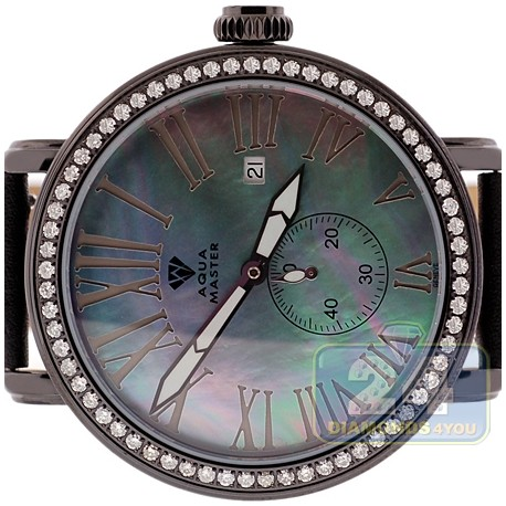 Mens Diamond Black Watch Aqua Master Round Automatic 2.25 ct