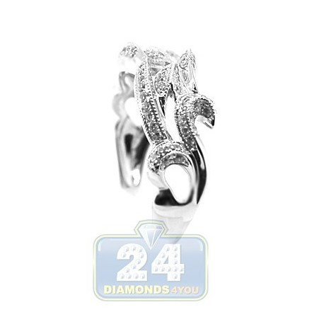 18K White Gold 0.35 ct Diamond Womens Antique Band Ring